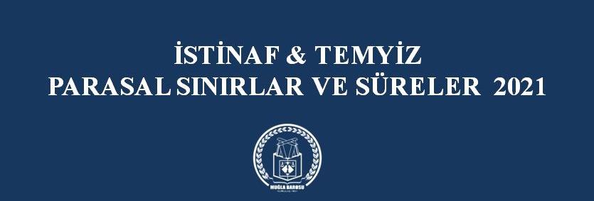 İSTİNAF & TEMYİZ  PARASAL SINIRLAR VE SÜRELER  2021